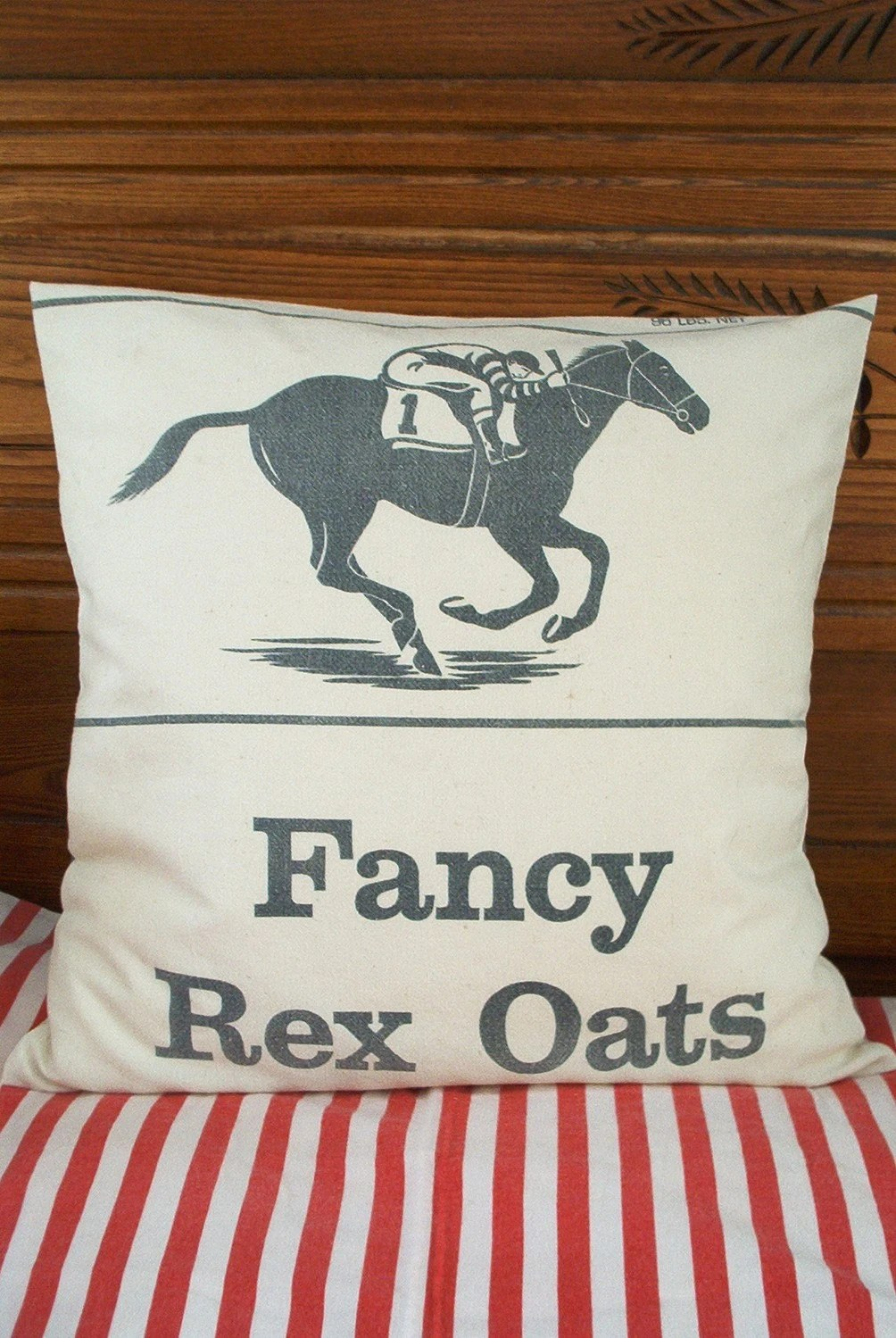 Race Horse Feed Sack Pillow Vintage Minneapolis Oats Bag