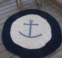 Anchors Ahoy OOAK Crochet Nautical Round Rug Navy by ...