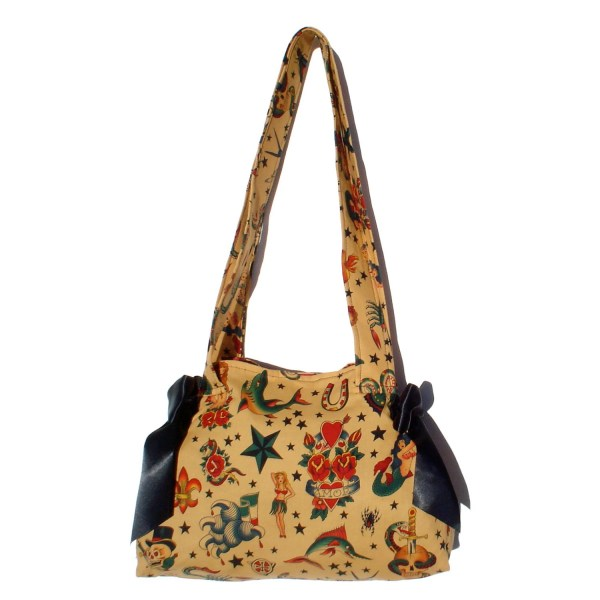 Purse Vintage Tattoo Art With Black Ribbon Bows