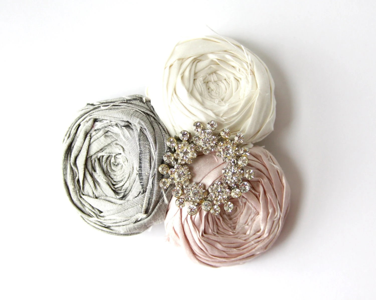 Rosette Hair Clip Bridal or Just Chic Silk Rosette Flower Hair Clip with Vintage Rhinestone setting Dove Gray White and Pink chic Silk - Brydferth