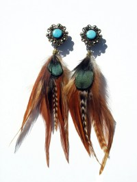 Native American INSPIRED Princess Feather Plugs/Earrings 6g 4g