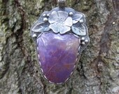 Purple Jadeite and Silver Pendant Necklace Handmade - mywifesstudio