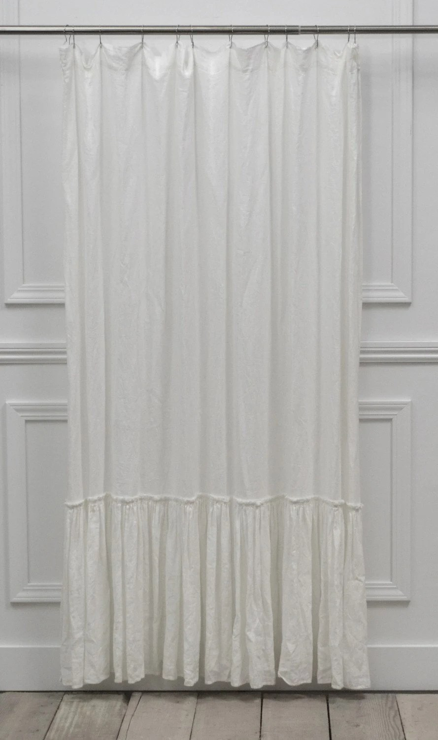 White Linen Shower Curtain Vintage Ruffle Washed