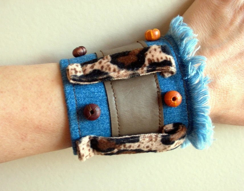 SALE % 25 Off Recycled denim and leopard cuff  wristband AOD Bungle in the Jungle - bysweetmom