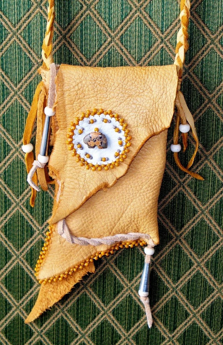 Native American Style Beaded Bear Totem Medicine Bag by