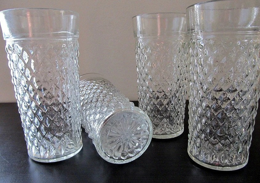 Pressed Glass Tumblers in Diamond Pattern Set Of Four