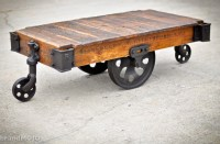 Vintage Industrial Factory Cart Coffee Table 48L x 27w x