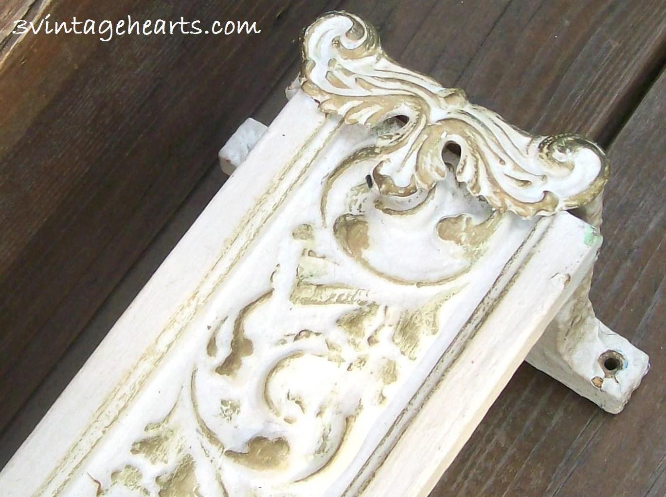 French Shabby Chic White Gold Wood Valance Box