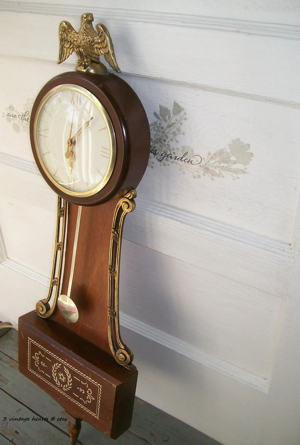 Large Wall Clock Antique Brass American Eagle United Clock