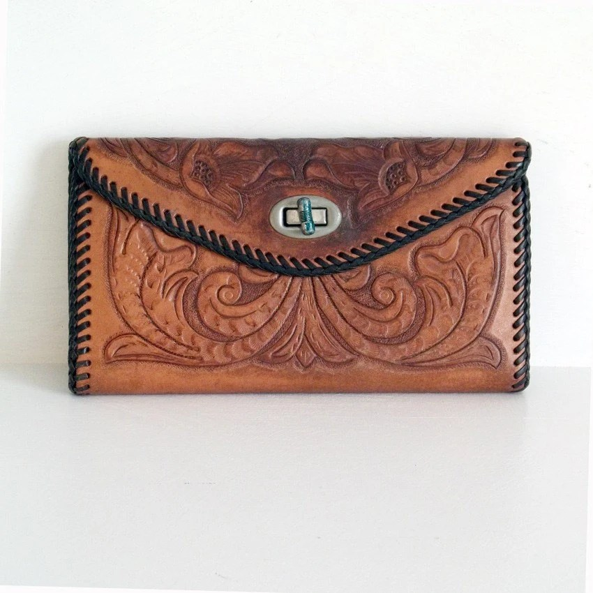Tooled Leather Vintage 1970s Wallet Billfold