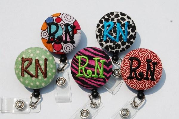 Nurse Rn.monogrammed Id Badge Reel.design