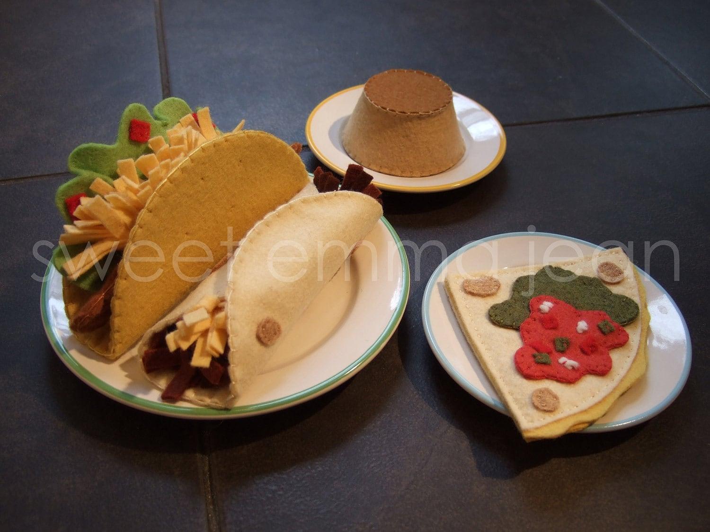 Felt Play Food Pattern Taco Dinner Felt Mexican Food