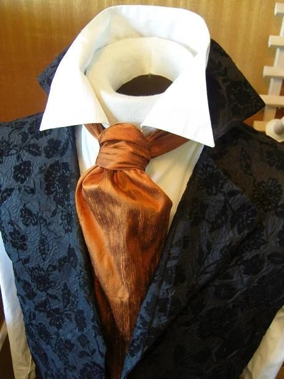 FORMAL Victorian Ascot Tie Cravat Pumpkin Orange Dupioni