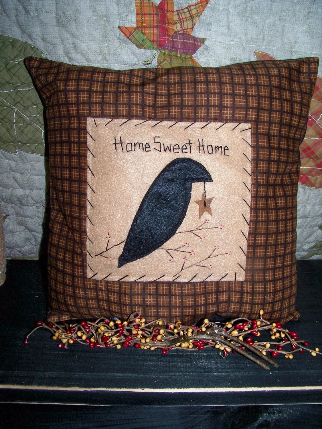 Primitive Decor CROW PILLOW Country Rustic Cabin Accent Grungy