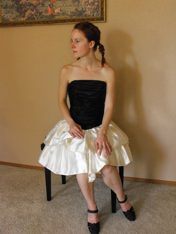 80s Prom Dress Strapless Formal Gown Black White Bows Ruched