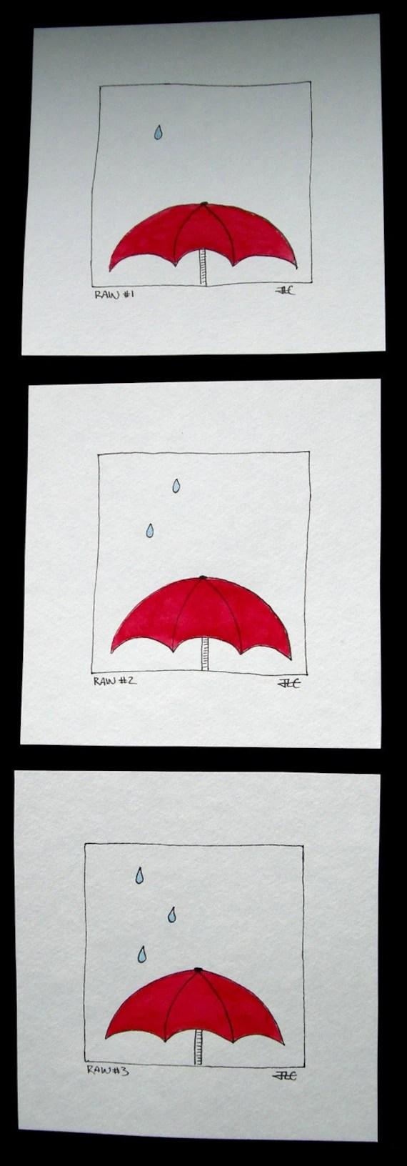 Original Ink Illustration - Series of 3 Red Umbrellas