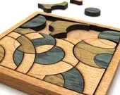 Blue and Green Circles Puzzle - Hand Colored Oak Pieces . Timber Green Woods - TimberGreenWoods