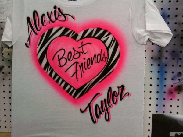 Airbrush Pink Zebra Friends With Names T-shirt Size Xs
