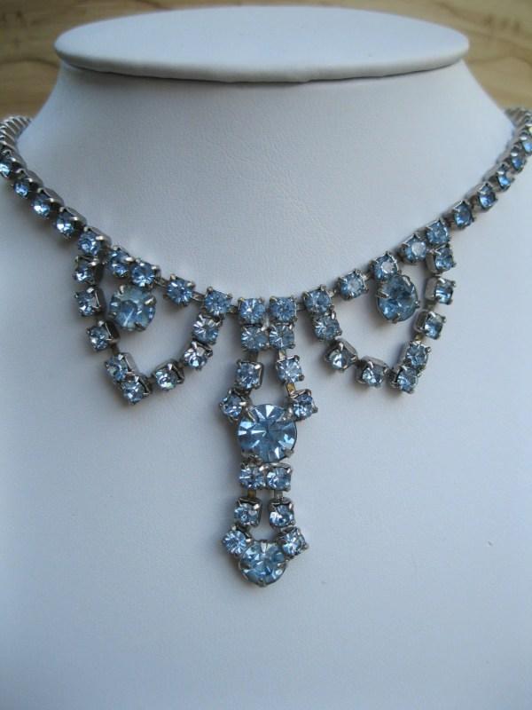 Vintage Blue Rhinestone 1950s Necklace