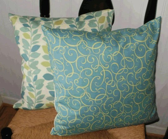 Decorative Pillow Cover Spa Blue Swirl Pattern18 X 18 inch