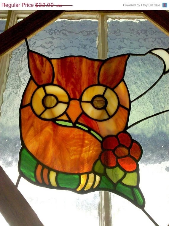 Sale Stained Glass Owl Window Vintage Art in Wood Frame