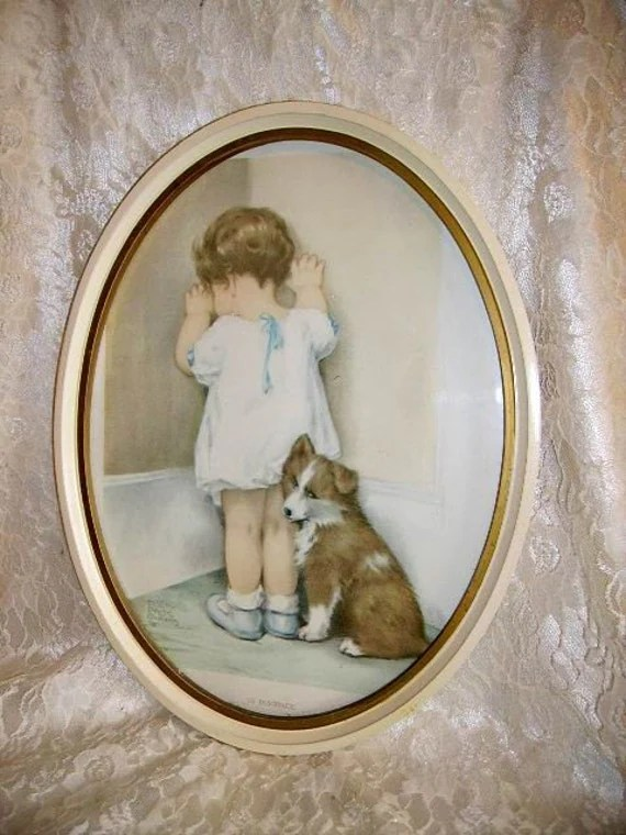 Vintage Bessie Pease Gutmann Print in Oval Wood Frame In