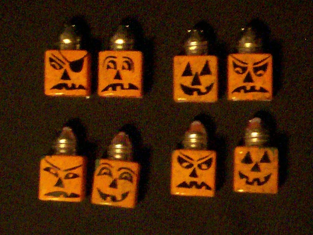 Jack O Lantern Glass Salt And Pepper Shakers By Ourhousecraft