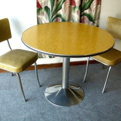 1950s Formica Kitchen Table And Chairs Island With Granite Top Round Yellow Vintage Pedestal Two