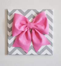 Large Pink Bow on Gray and White Chevron 12 x12 Canvas