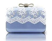 Bling Bling Chain Box Clutch Luxury Victorian Light Blue Bag White Lace Party Rhinestone Wedding Purse Minaudiere - ifashionlady