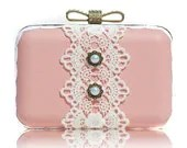 Lace Leather Box Clutch Pink White Pearl Wedding Brides Bridemaids Chain Party Minaudiere - ifashionlady