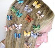 set of 3 butterfly hair clips