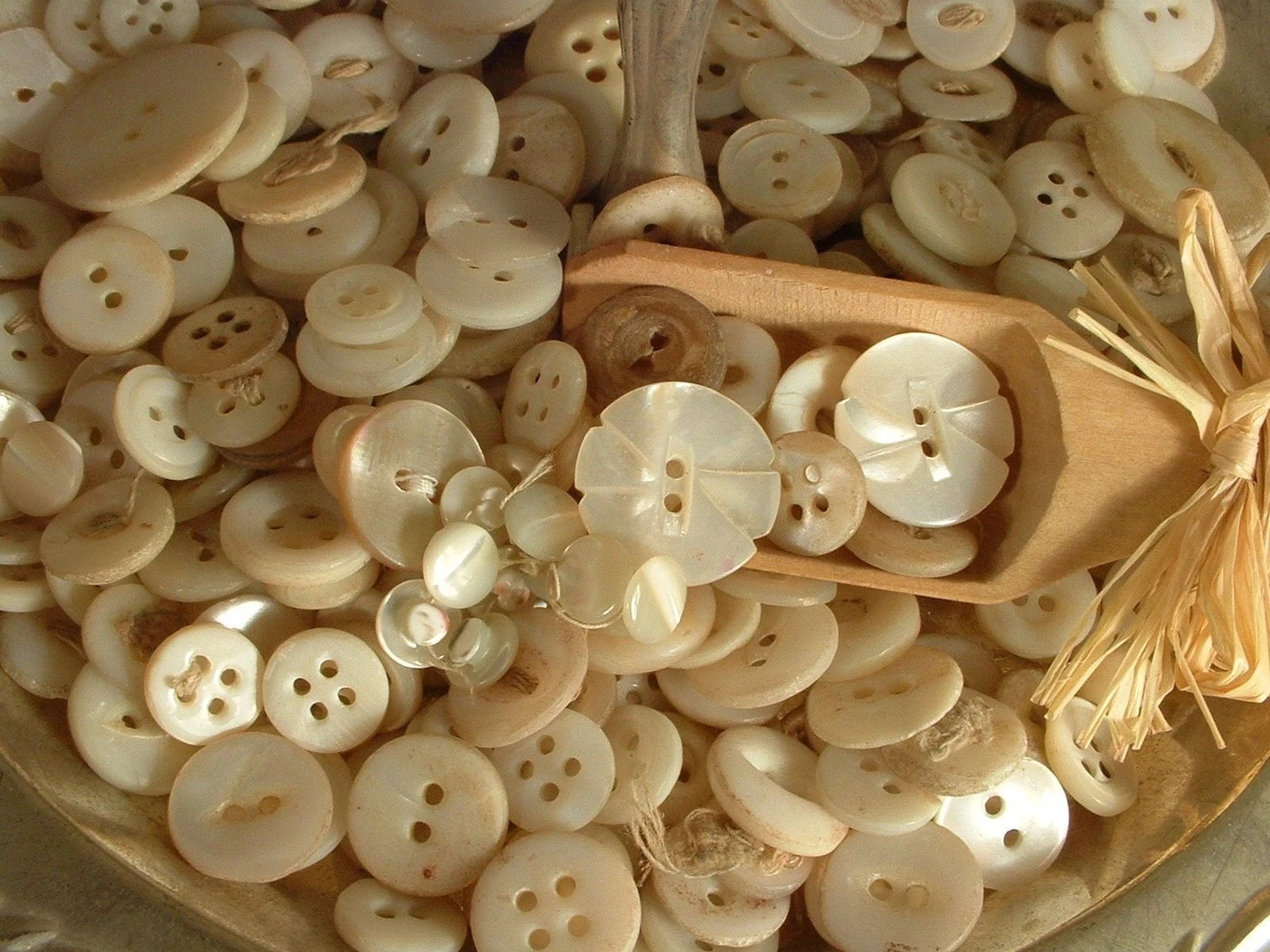 Mother of Pearl Buttons, Lot of 50 Antique Sewing Buttons - AmoreTreasure