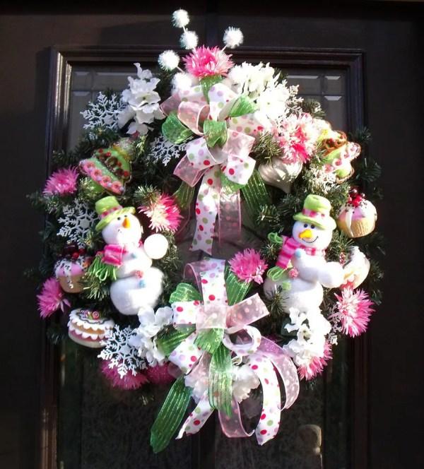 Christmas Wreath Snowman Door Decoration