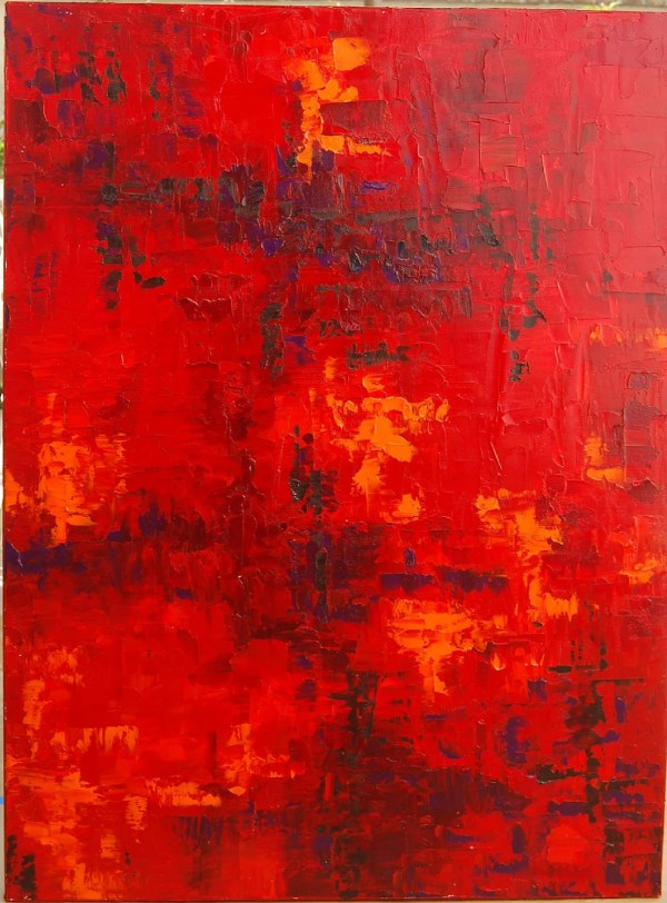 Red Abstract Art Oil Painting