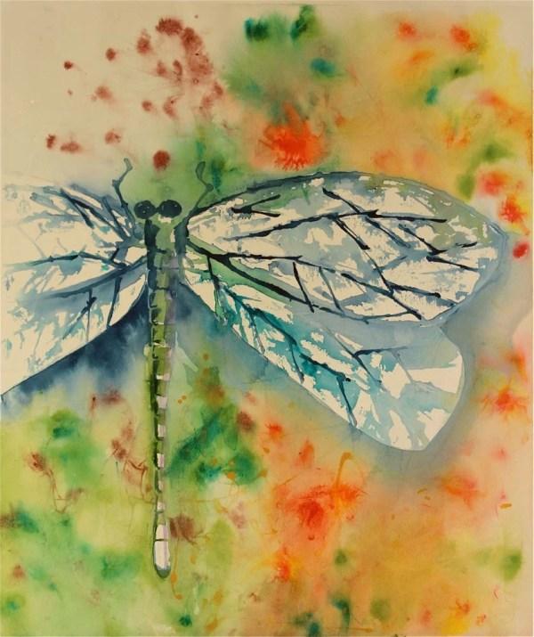Dragonfly Watercolor Painting Large Sunnyleestudio