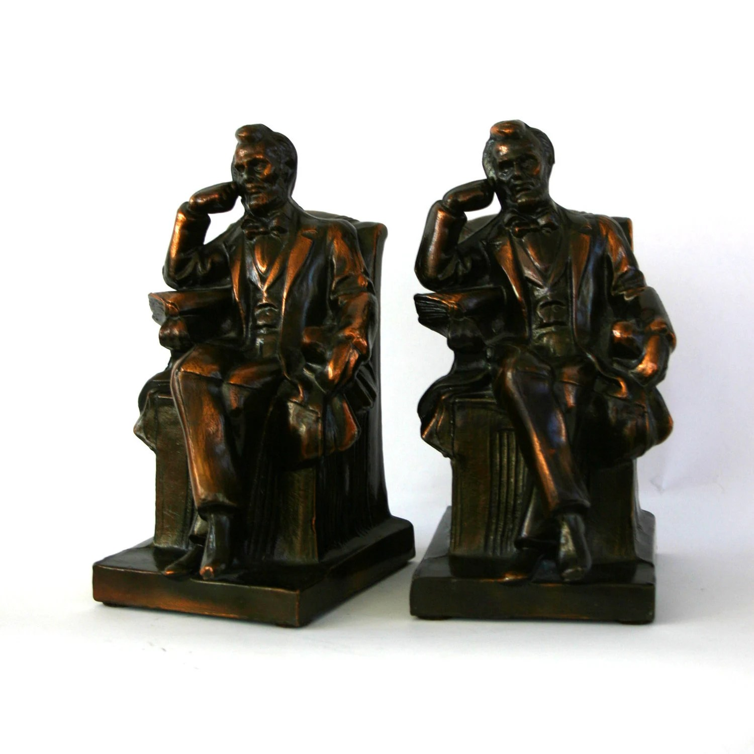 blue metal folding chairs wedding hire london vintage abraham lincoln bookends. bronze copper finish. home