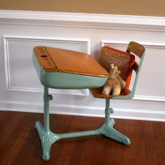 Aqua Desk Chair Fuzzy Feet Gliders Home School Is Cool Vintage Turquoise Elementary