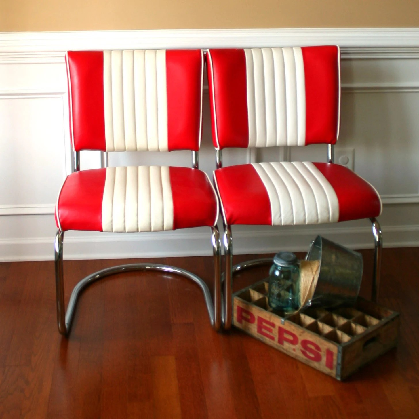 Retro Dining Chair Mid Century Chairs Pair Diner Red White Stripes Retro