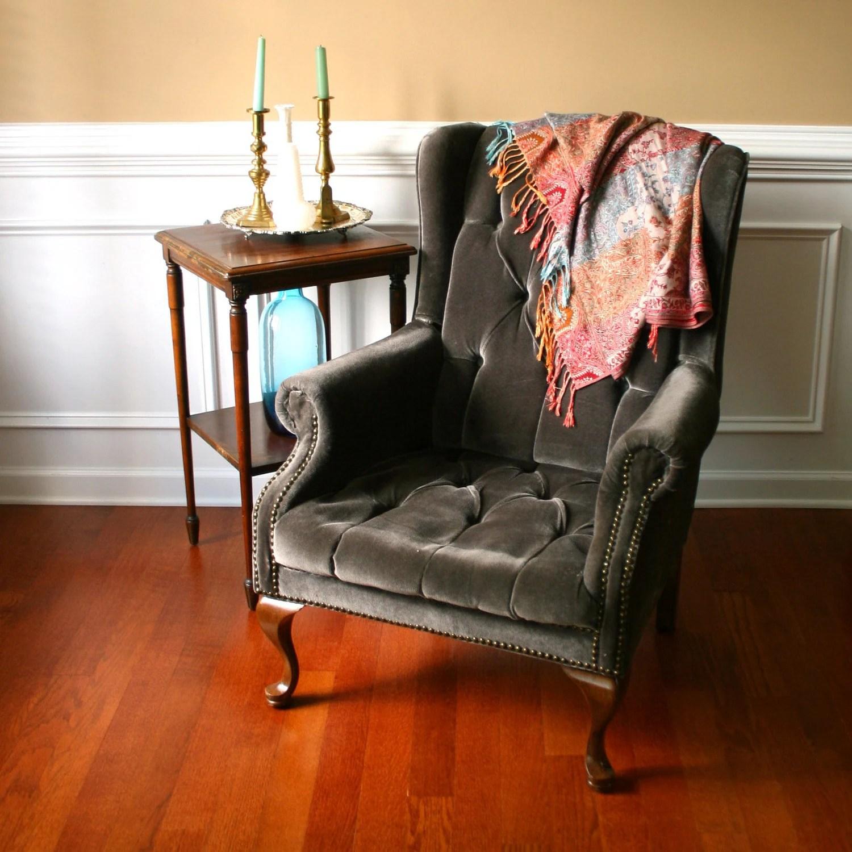 vintage arm chair steelcase upholstered wing back velvet tufted