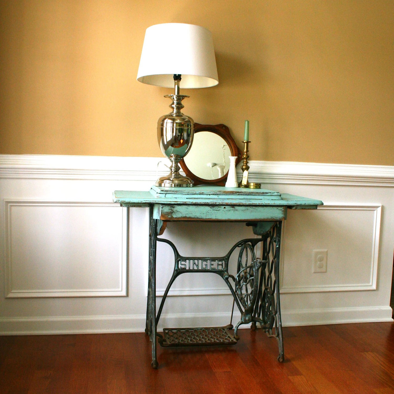 Vintage Turquoise Entryway Table Desk Singer Treadle Sewing