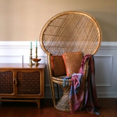Fan Back Wicker Chair Office Quikr Chennai Chinoiserie Peacock High Throne Armchair