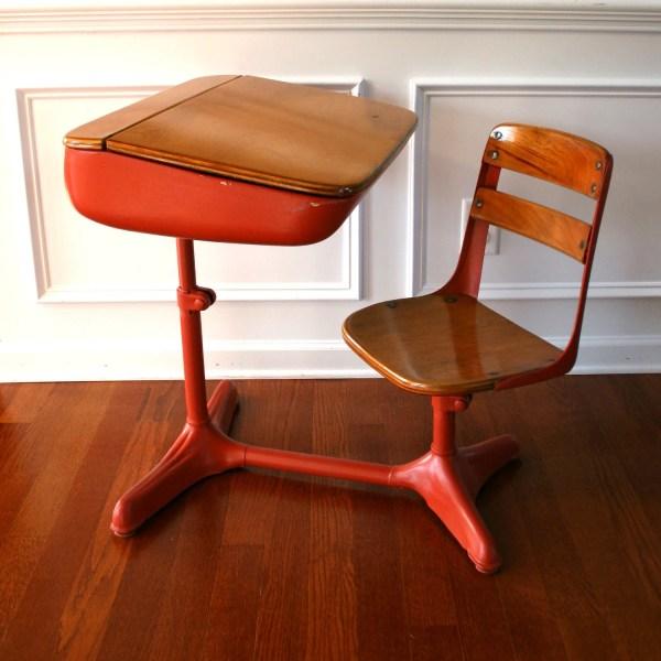 Vintage Salmon Elementary School Desk Storage And Chair. Wood