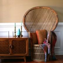 Chinoiserie Peacock Chair. Hollywood Regency High Fan