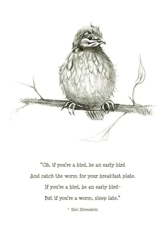 early bird print with Shel Silverstein quote 5x7