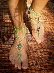 Hippie Boho Barefoot Sandals With Green Lace Crochet Eternal