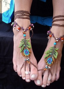 Bohemian Barefoot Sandals Peacock Feather Occasions