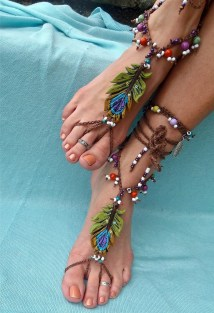 Bohemian Barefoot Sandals Peacock Feather Foot Jewelry
