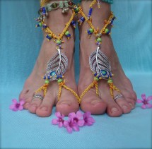 Peacock Feather Yellow Barefoot Sandals With Royal Blue