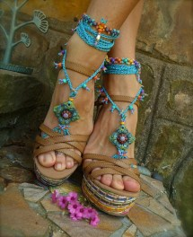 Blue Hippie Summer Barefoot Sandals Crochet Beaded